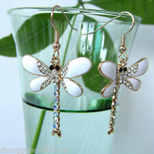 Navachi Dragonfly White Enamel Crystal 18K GP Hook Earring earrings BH1103