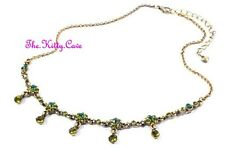 Deco Chic Vintage Hollywood Glamour Green Gold Pl Necklace W/ Swarovski Crystals