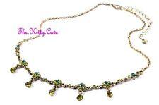 Deco Chic Vintage Hollywood Glamur Verde Oro Pl Collar Cristales Swarovski
