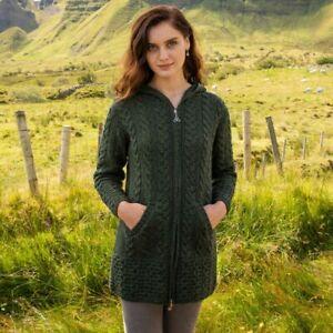 Aran Crafts Hooded Aran Zipper Coat Green Size M Merino Wool