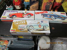 LINDBERG 1975 MODELS 3 SEALED IN BOX- SPRITE, TRIUMPH TR3 & CORVETTE ORIG. NOS