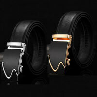 Men's Automatic Buckle Waist Strap Business Formal Dress Belts Genuine Leather
