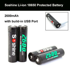 4PCS Soshine 18650 Li-ion 2600mAh Rechargeable Battery + Micro Built-In USB Port