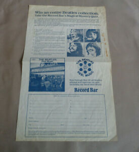 The Beatles - Record Bar Magical Mystery Quiz Entry Form - Unused - 1982