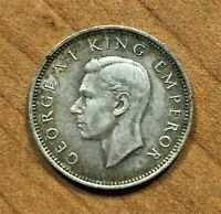 1943 New Zealand Sixpence 6 Pence Coin, Silver, George VI, KM# 8