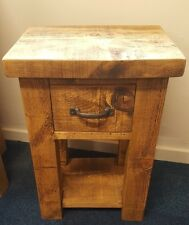 SOLID WOOD RUSTIC CHUNKY BEDSIDE TABLE WITH DRAWER **MADE TO ORDER** ANY SIZE**