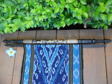 Indonesian Bali Bamboo & Wood Hanger x 76cm with Woven ikat x 170cm wall hanging