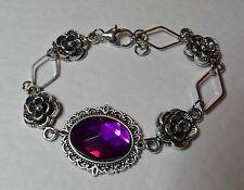 stile vittoriano - Diamante Rosa - viola acrilico cristallo placcato argento