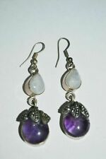 VINTAGE STERLING SILVER MOON STONE AMETHYST MARCASITE EARRINGS