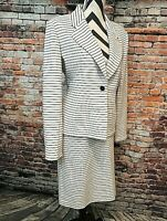 Designer Vicky Tiel White w Black Stripe Skirt Suit, Size 14, Stretch 1% Spandex