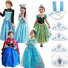 Girls Kids Dress Princess Anna Elsa Frozen Costume Party Dresses Crown Cosplay