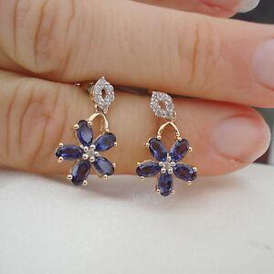 2.31ct Bengal Iolite 'Flower' Gold Drop Earrings