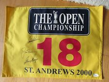Arnold PALMER, Jack NICKLAUS, Gary PLAYER (BIG 3) Signed  BRITISH OPEN Flag JSA