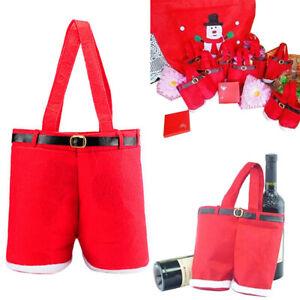 Santa Claus Suspender Pants Decor Christmas Gift Bags Wine Bottle Holder ur