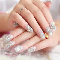 24Pcs acrylic french fake finger nails full cover false nail art manicure DIY AF