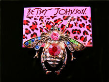 Betsey Johnson Multi-Color Rhinestone Lovely Bee Charm Woman Brooch Pin