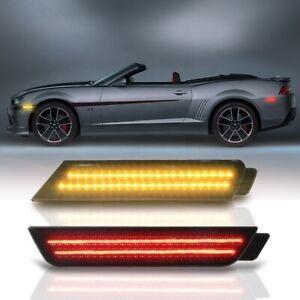 2sets Smoke Lens A&R LED Side Marker Lights For 10-15 Chevrolet Camaro LS SS ZL1