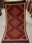 3.5X6.5 Handmade vintage Uzbek Maimana Vegetable Dye Natural Colors Wool Kellim