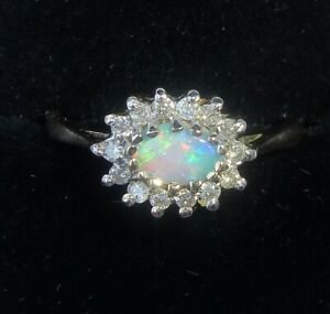 9ct Gold Opal & Diamond Halo Ring, Size N1/2