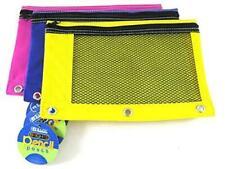 3 Pk Bazic Bright Color 3-Ring Pencil Pouch-Mesh Window Girls