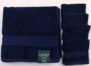 RALPH LAUREN WESTLAKE 5 PC SET MARINE BLUE,NAVY,COTTON,1 BATH TOWEL,4 WASH CLOTH