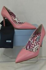 NIB PRADA 1I939F BEGONIA PINK LEATHER POINTED TOE FLORAL CLASSIC PUMPS 39 ITALY