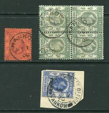 Old China Hong Kong KEVII/KGV  6 x stamps with Nice Hankow Treaty Port CDS Pmks