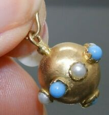 VINTAGE 18CT GOLD TURQUOISE PEARL  FOB  PENDANT 18 CARAT YELLOW 3.1g