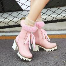 Womens Chunky heel lace up Fur furry warm casual ankle boots snow boots shoes