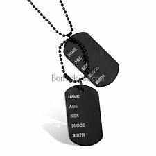 Men's Stainless Steel Black Dog Tag Age Name Card Pendant Necklace w Chain