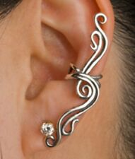 Left Clip on SWIRLY TWISTING SPIRAL Crystal Ear Cuff / Wrap Earring NO PIERCINGS
