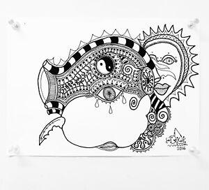 """Froody doodle original art work ink """"Seasons of the heart"""" (like Banksy MR)"""