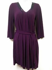 American Glamour Badgley Mischka Beaded Draped Dress PURPLE Sz M Medium