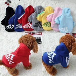 Adidog Dog Hoodie 2 Legs Jumpsuit Puppy Hoodies Coat Sweatshirt Sports Outfits