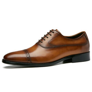 Brogue Cap Toe Oxford For Men Genuine Leather Lace Up Derby Shoes Solid Block