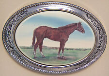 Belt Buckle Barlow Photo Reproduction in Color Thoroughbred Horse 592612c NEW