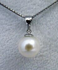 HS Round South Sea Cultured Pearl 9.65mm Pendant 18K White Gold Top Grading NR!