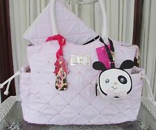Betsey Johnson Bow Diamond Quilt Baby Diaper Bag Tote Weekender Blush Pink NWT
