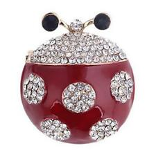 Nuevo en tarjeta Ladybird Rojo Esmalte claro cristal y oro Metal Broche 3.5 cm X 3 Cm
