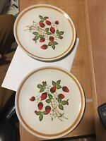 "2 Sheffield Strawberries N' Cream Stoneware Dinner Plates 10-5/8"" Made in Japan"