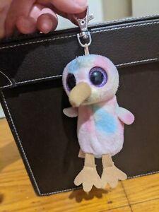 TY Beanie Boo Kiwi Bird Key Holder Purple Sparkle Eyes 14cm