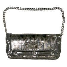 Michael Kors Handbag Clutch Delancy Nickel Chain Mk Logo Flap Silver 38h2xdec2z