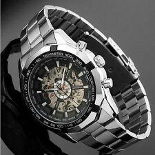 WINNER Mens Black Skeleton Automatic Mechanical Analog Fashion Sport Wrist Watch
