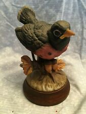 Josef Original figurine baby robin with acorns. Mounted on a wooden base. 6 in