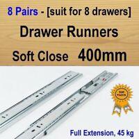 8 pairs soft close Cabinet Cupboard Kitchen Vanity drawer runners /Slides 400mm