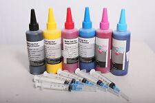 600ml Compatible Pigment Ink Refill set For Epson Refillable Cartridges CIS CISS