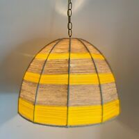 Vintage Swag Hanging Yarn String Lamp Yellow Being Retro 1970s