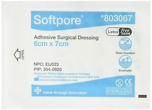 Softpore Adhesive Surgical Dressing Water Repellent Sterile Single Use 6 x 7 cm
