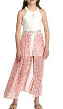 Speechless Big Girl's Jeweled Waist Chiffon Maxi Walk-Thru Dress-Size-10-Pink