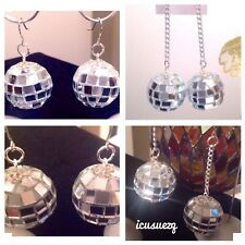 DISCO BALL EARRINGS Handmade Disco Ball Dangle earrings Bling  Mirrored Balls